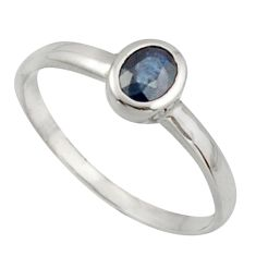 0.65cts natural blue sapphire 925 silver solitaire ring jewelry size 6.5 d47503
