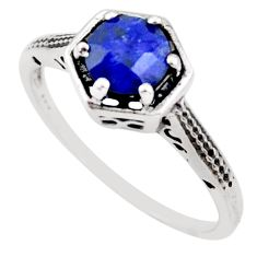 1.24cts natural blue sapphire 925 silver solitaire ring jewelry size 7.5 r35956