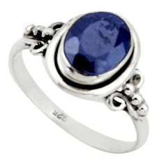 3.06cts natural blue sapphire 925 silver solitaire ring jewelry size 7.5 r41371