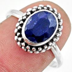 3.38cts natural blue sapphire 925 silver solitaire ring jewelry size 8.5 r41392