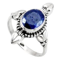 3.05cts natural blue sapphire 925 silver solitaire ring jewelry size 7.5 r41426
