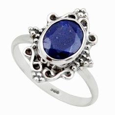 2.89cts natural blue sapphire 925 silver solitaire ring jewelry size 7.5 r41487