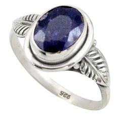 3.06cts natural blue sapphire 925 silver solitaire ring jewelry size 8.5 r41510
