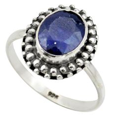 3.29cts natural blue sapphire 925 silver solitaire ring jewelry size 7.5 r41573