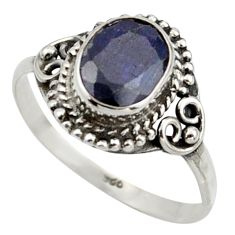 3.29cts natural blue sapphire 925 silver solitaire ring jewelry size 8.5 r41586