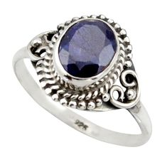 3.09cts natural blue sapphire 925 silver solitaire ring jewelry size 8.5 r41587
