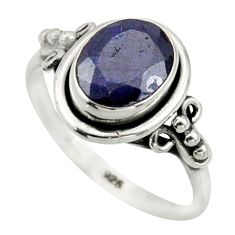 3.00cts natural blue sapphire 925 silver solitaire ring jewelry size 7.5 r41631