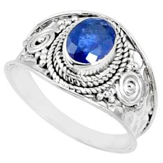 2.14cts natural blue sapphire 925 silver solitaire ring jewelry size 9.5 r69121