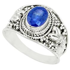 2.00cts natural blue sapphire 925 silver solitaire ring jewelry size 8.5 r69125