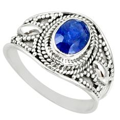 2.01cts natural blue sapphire 925 silver solitaire ring jewelry size 8.5 r69130