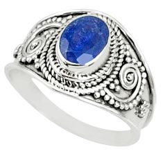 2.03cts natural blue sapphire 925 silver solitaire ring jewelry size 8.5 r69134