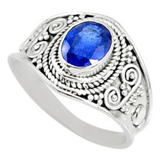 2.09cts natural blue sapphire 925 silver solitaire ring jewelry size 8.5 r69138