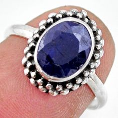 3.11cts natural blue sapphire 925 silver solitaire ring jewelry size 7 r41391