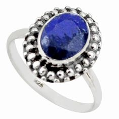 3.29cts natural blue sapphire 925 silver solitaire ring jewelry size 7 r41445