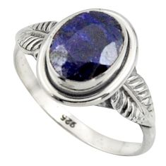 3.06cts natural blue sapphire 925 silver solitaire ring jewelry size 7 r41511