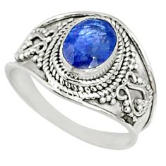 1.80cts natural blue sapphire 925 silver solitaire ring jewelry size 7 r69133