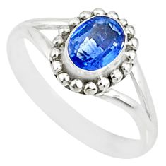 1.45cts natural blue sapphire 925 silver solitaire handmade ring size 7 r82191