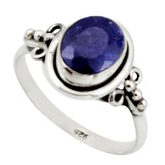 3.29cts natural blue sapphire 925 silver solitaire ring jewelry size 8 r41370