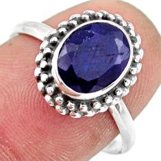 3.09cts natural blue sapphire 925 silver solitaire ring jewelry size 8 r41389