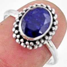 3.09cts natural blue sapphire 925 silver solitaire ring jewelry size 8 r41390