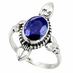 2.92cts natural blue sapphire 925 silver solitaire ring jewelry size 8 r41433