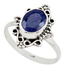 2.90cts natural blue sapphire 925 silver solitaire ring jewelry size 8 r41486