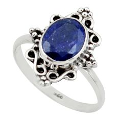 2.89cts natural blue sapphire 925 silver solitaire ring jewelry size 8 r41488