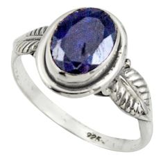 3.06cts natural blue sapphire 925 silver solitaire ring jewelry size 8 r41509