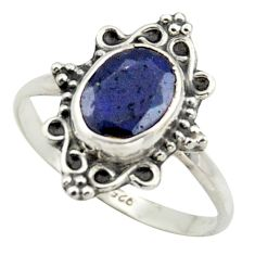 2.96cts natural blue sapphire 925 silver solitaire ring jewelry size 8 r41571