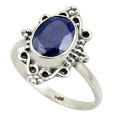 2.96cts natural blue sapphire 925 silver solitaire ring jewelry size 8 r41572