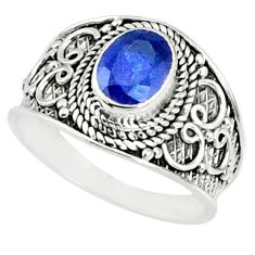 2.17cts natural blue sapphire 925 silver solitaire ring jewelry size 8 r69123