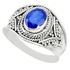 2.12cts natural blue sapphire 925 silver solitaire ring jewelry size 8 r69139
