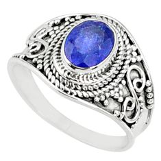 2.05cts natural blue sapphire 925 silver solitaire ring jewelry size 8 r69140