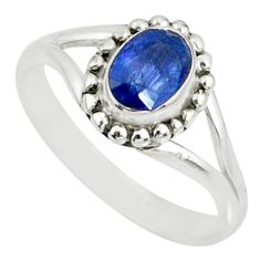 1.55cts natural blue sapphire 925 silver solitaire handmade ring size 8 r82193
