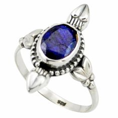 2.92cts natural blue sapphire 925 silver solitaire ring jewelry size 9 r41427