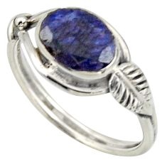 3.29cts natural blue sapphire 925 silver solitaire ring jewelry size 9 r41525