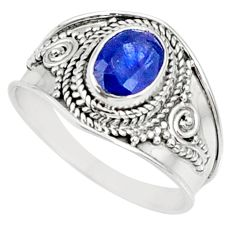 2.10cts natural blue sapphire 925 silver solitaire ring jewelry size 9 r69136