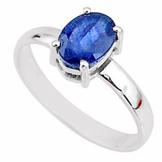 2.03cts natural blue sapphire 925 silver solitaire handmade ring size 7.5 t7281