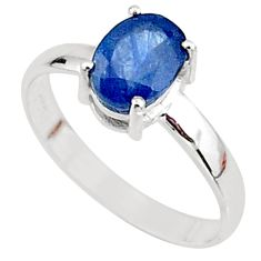 2.29cts natural blue sapphire 925 silver solitaire handmade ring size 7.5 t7287
