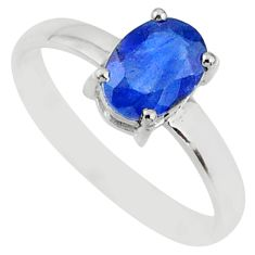 2.21cts natural blue sapphire 925 sterling silver faceted ring size 7.5 r70666