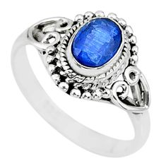 1.51cts natural blue sapphire 925 sterling silver ring jewelry size 8 r90046