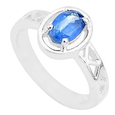 1.44cts natural blue sapphire 925 sterling silver solitaire ring size 6 t5164