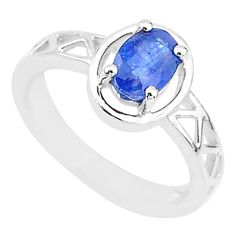 1.43cts natural blue sapphire 925 sterling silver solitaire ring size 6 t5165