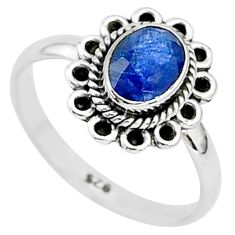 1.36cts natural blue sapphire 925 sterling silver solitaire ring size 6 t5506