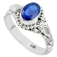 1.47cts natural blue sapphire 925 sterling silver solitaire ring size 6 t5509