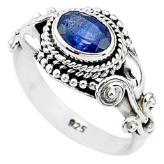 1.57cts natural blue sapphire 925 sterling silver solitaire ring size 6 t5512