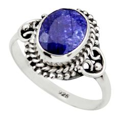 3.09cts natural blue sapphire 925 sterling silver solitaire ring size 7 r41402