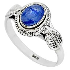 1.43cts natural blue sapphire 925 sterling silver solitaire ring size 7 t5502