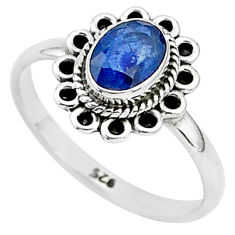 1.46cts natural blue sapphire 925 sterling silver solitaire ring size 7 t5508