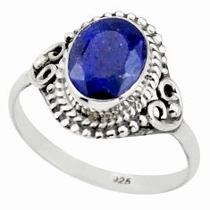 3.06cts natural blue sapphire 925 sterling silver solitaire ring size 8 r41401
